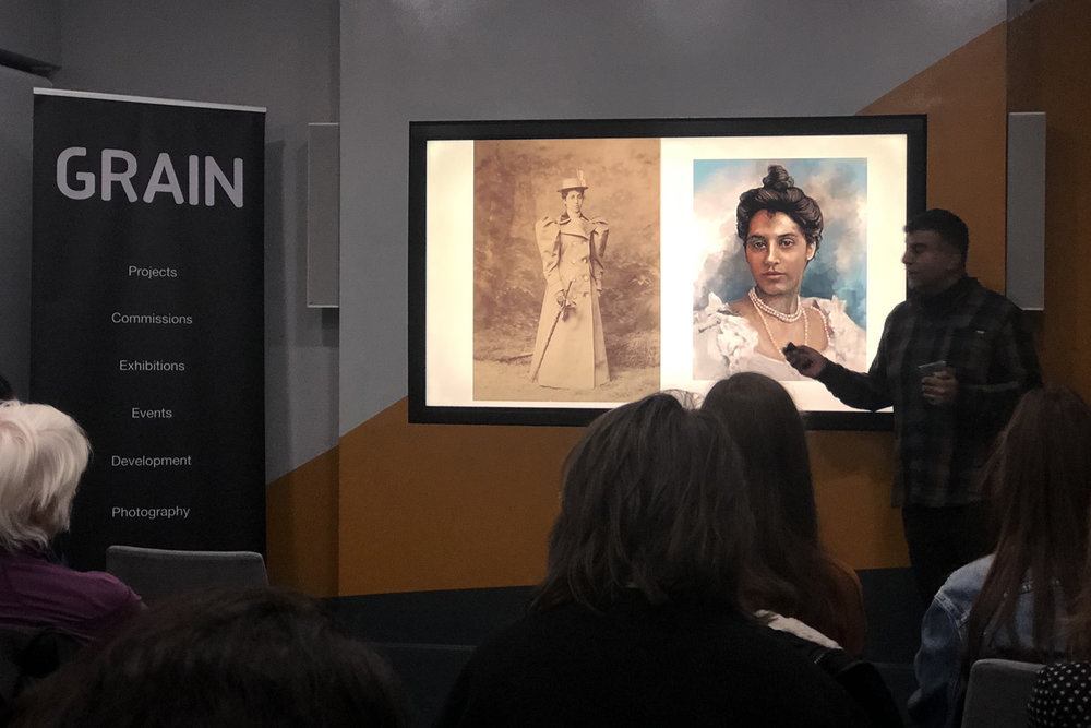 Anand Chhabra presents on suffragette Princess Sophia Duleep Singh at the Birmingham Hippodrome as part of GRAIN photo hub talks Jan 2019 regarding the artwork 'The Face of Suffrage' by Helen Marshall photo inset by © Maryam Wahid.