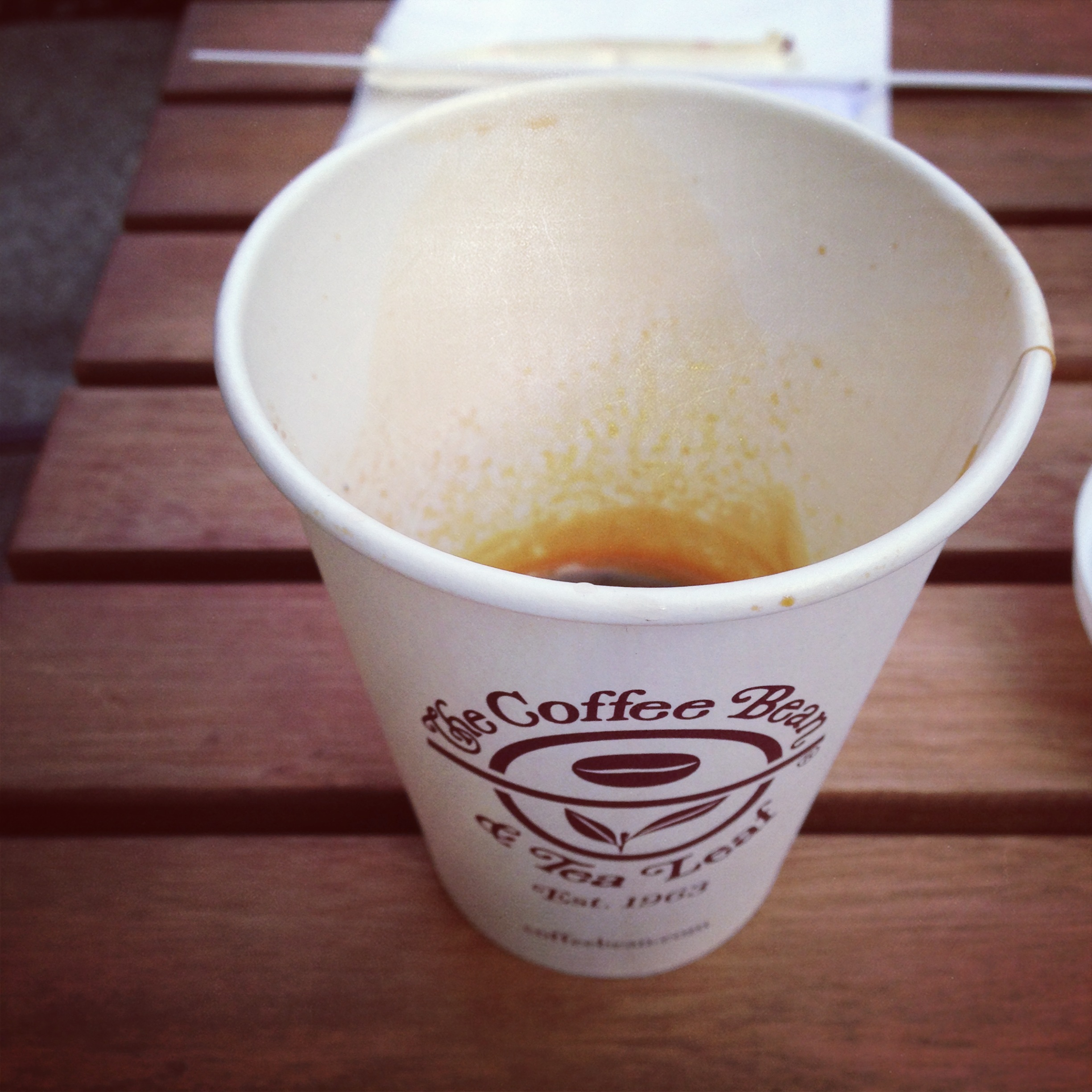 "4oz double espresso in a paper cup. ""For here."" It was pretty gross."