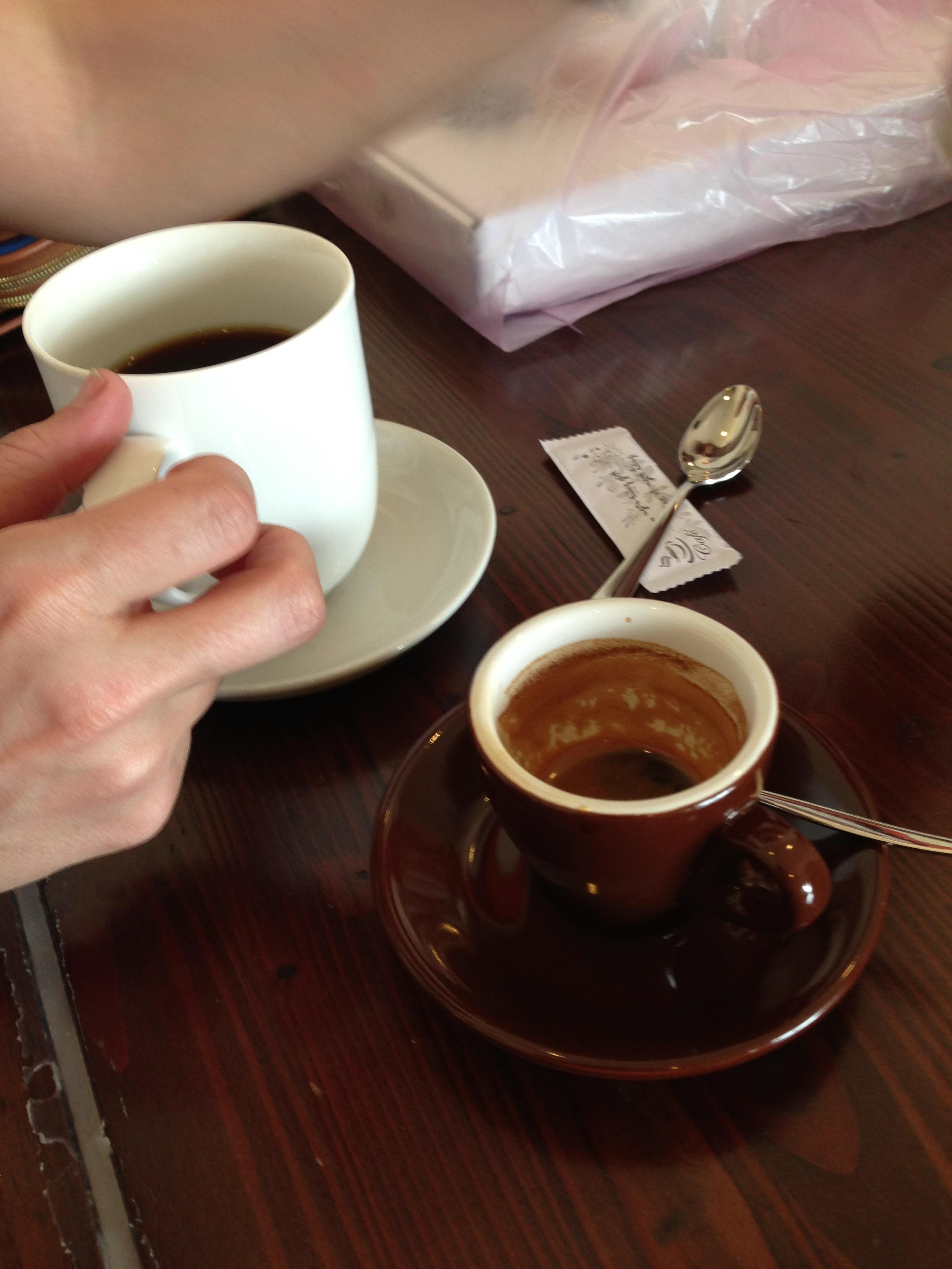 Imagine that, proper coffee mugs and demitasses!