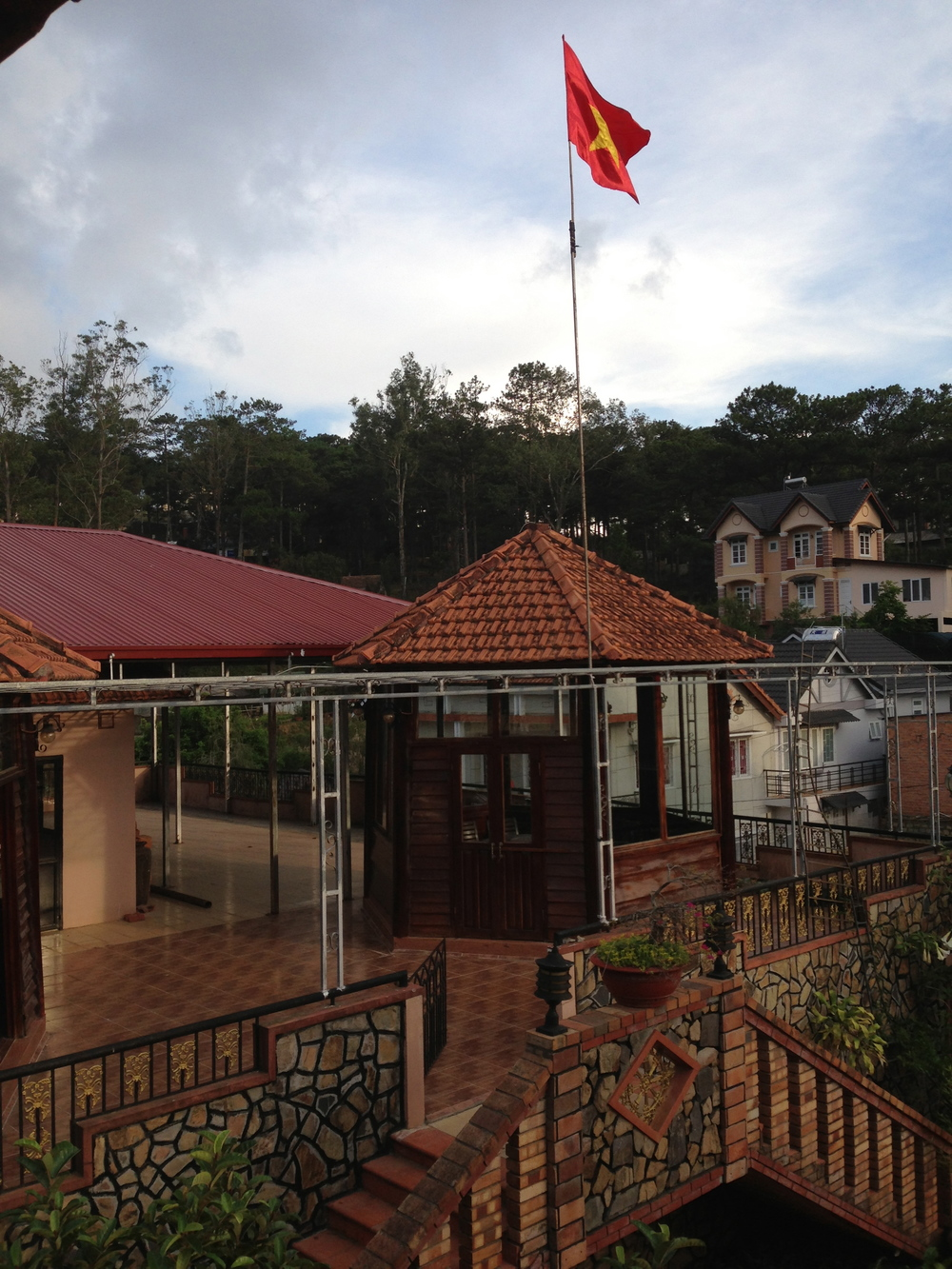 The Dalat Fortress, my abode for the last three months. Rooftop dining rooms made for great sample roasting a cupping areas.