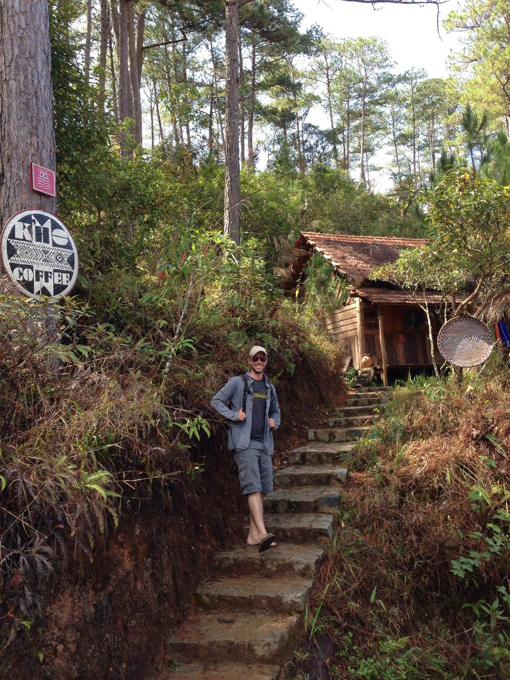Josh Guikema, of K'Ho Coffee, at the entrance to the K'Ho Cafe, about 20km from Dalat