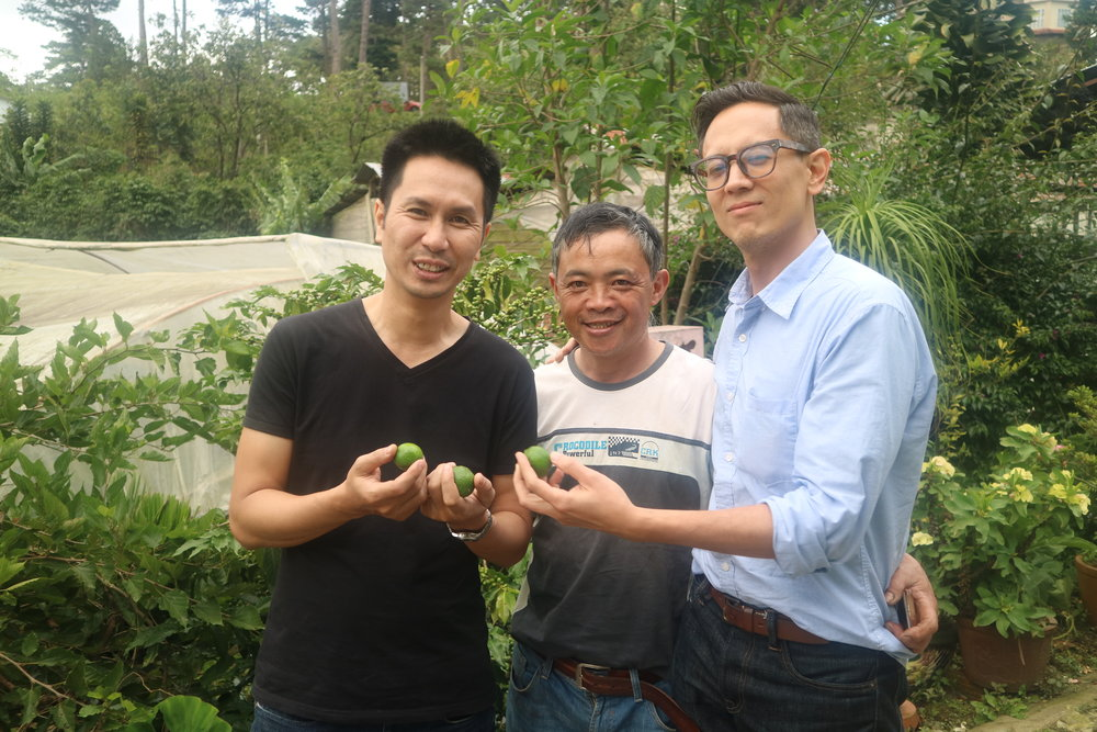 La Viet's Quang Tran, Mr An, and me, happy about the sweet limes we just picked.