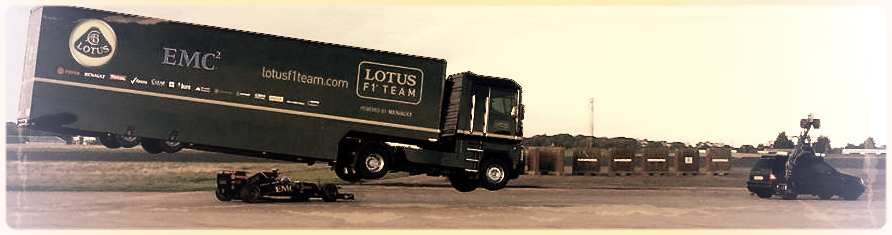 Jonathan Dennis & Russian Arm on EMC Lotus F1 truck jump stunt
