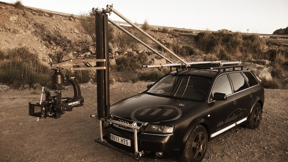 Flight Head Mini 3 with our tower mounted to a local tracking car in Majorca for The Grand Tour
