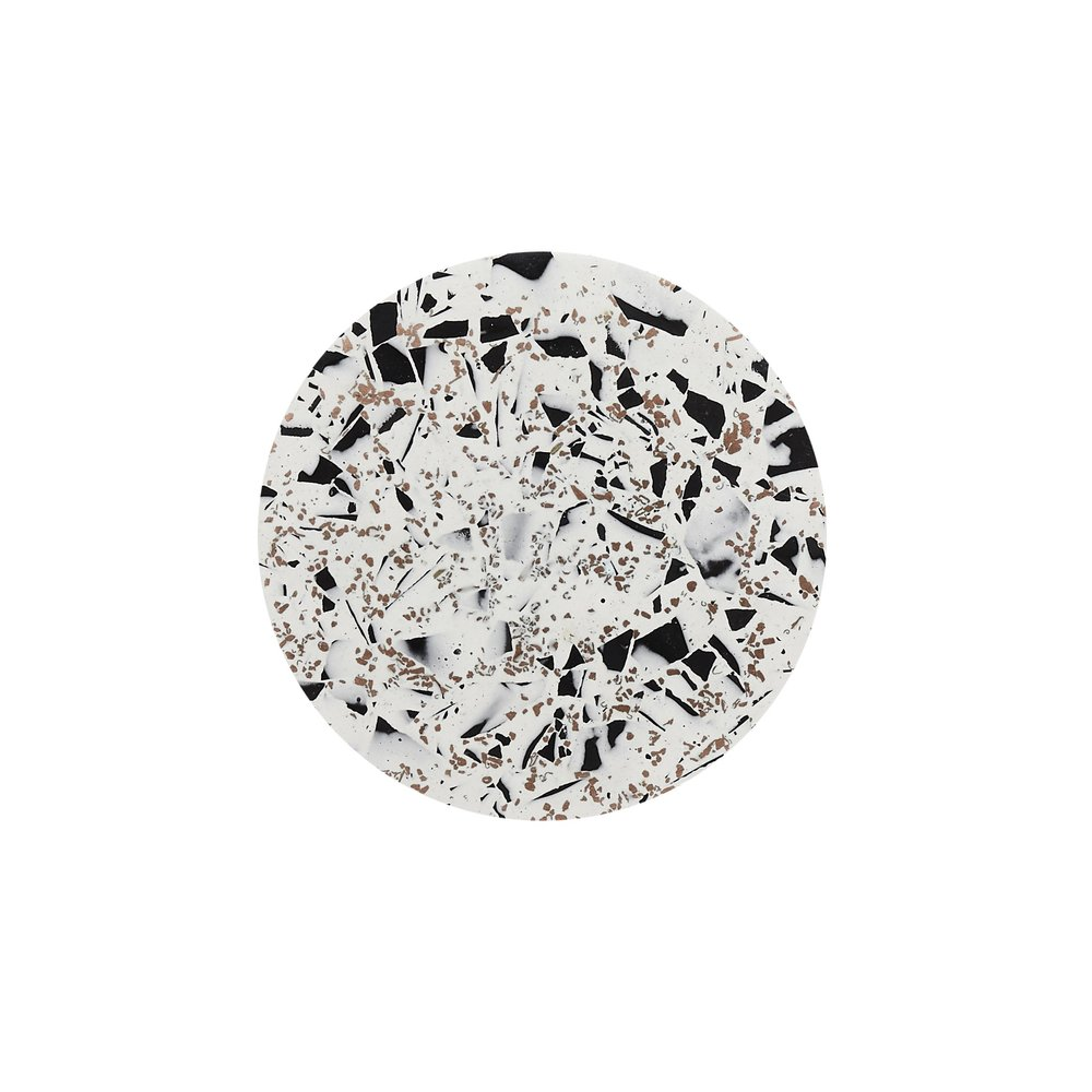 2.Terrazzo Coasters - by Emily MarlinInspired by timeless monochrome pallet with the extra flair of copper flecks. This collection is for the contemporary individual who wants to add luxury to there home