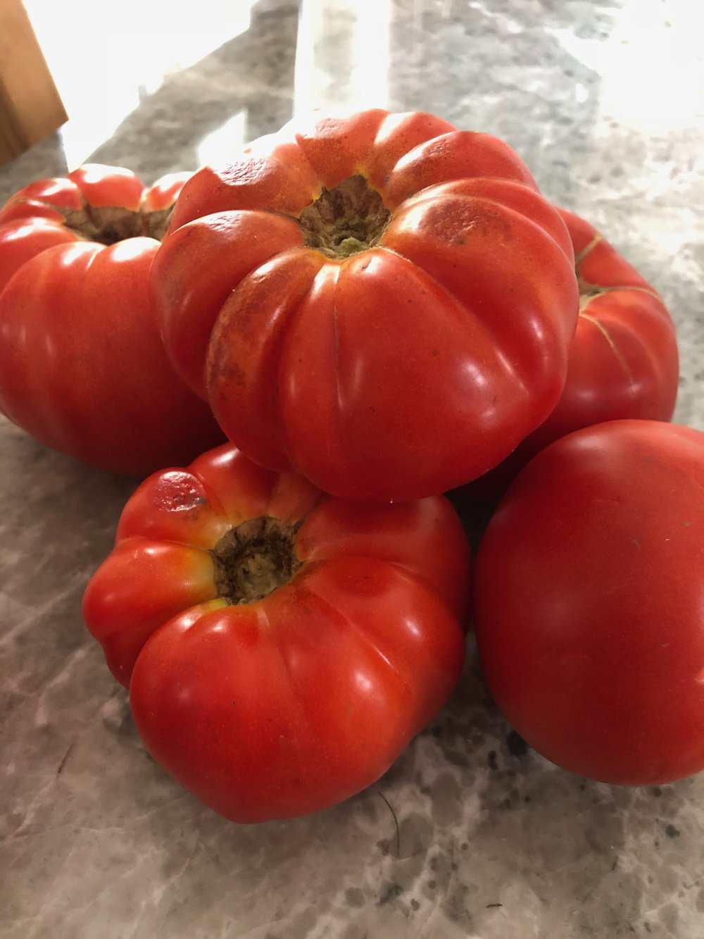 "These tomatoes came form biofarm (my favorite organic farm in Shanghai), they are organic, that's why some of you might say they are ""ugly"" but MOTHER nature works in mysterious ways, and sometimes the ""ugliest"" vegetables are the ones with the most flavor… something for us to learn from maybe?"