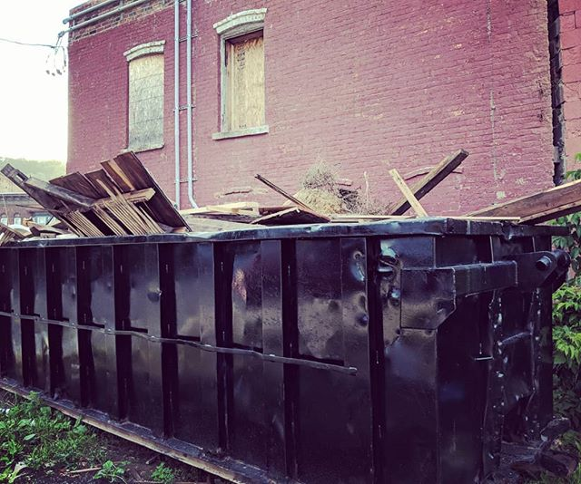 We have yet another dumpster packed with demo debris. I can't take anymore old framing members but if you're near Troy and want to dig around, DM me and you're welcome to it. #reclaimedwood #freewood #reuse