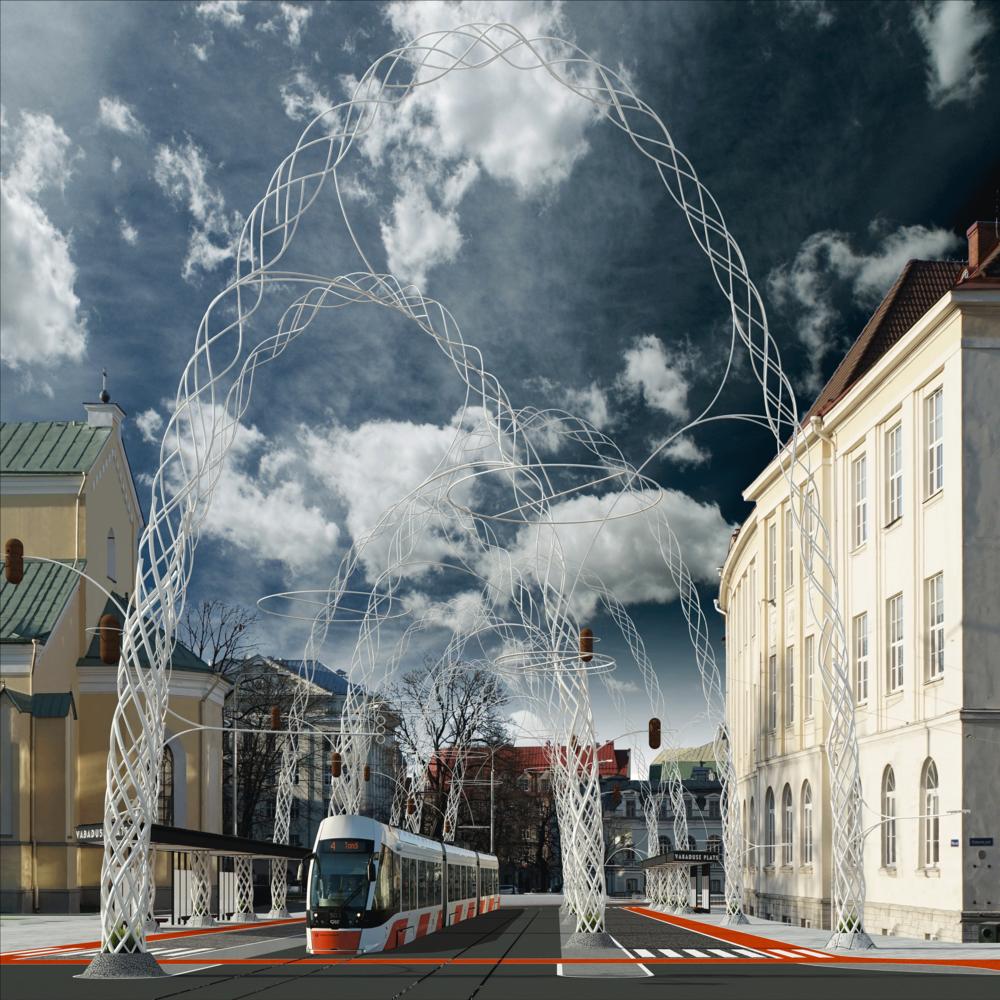 """II preemia vääriliseks tunnistatud töös """"Selgroog"""" on muutused kavandatud laia pintsliga. Kõige jõulisem on peatänavat palistav metallist kaarestik, mis kannab trammikaableid ja valgusteid. Töö autor on Villem Tomiste"""