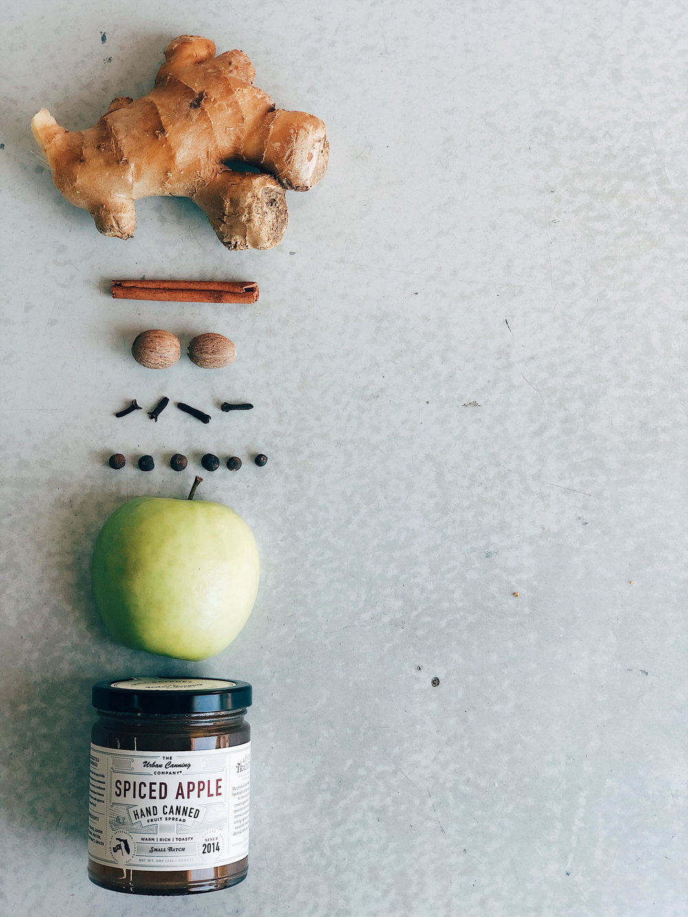 Spiced Apple Jam - • Ginger•Cinnamon• Nutmeg• Clove• Allspice• Granny Smith Apples (to balance out the sweetness)