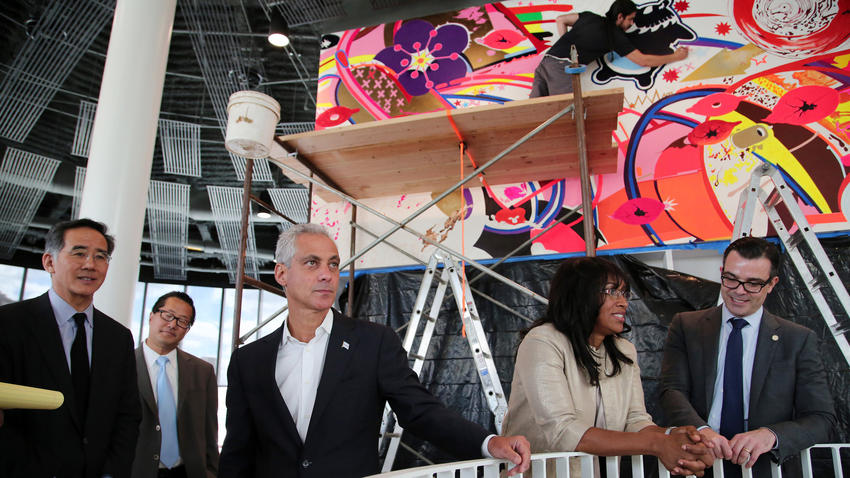 Anthony Souffle / Chicago Tribune Mayor Rahm Emanuel tours the newly constructed Chinatown branch of the Chicago Public Library Aug. 20, 2015.