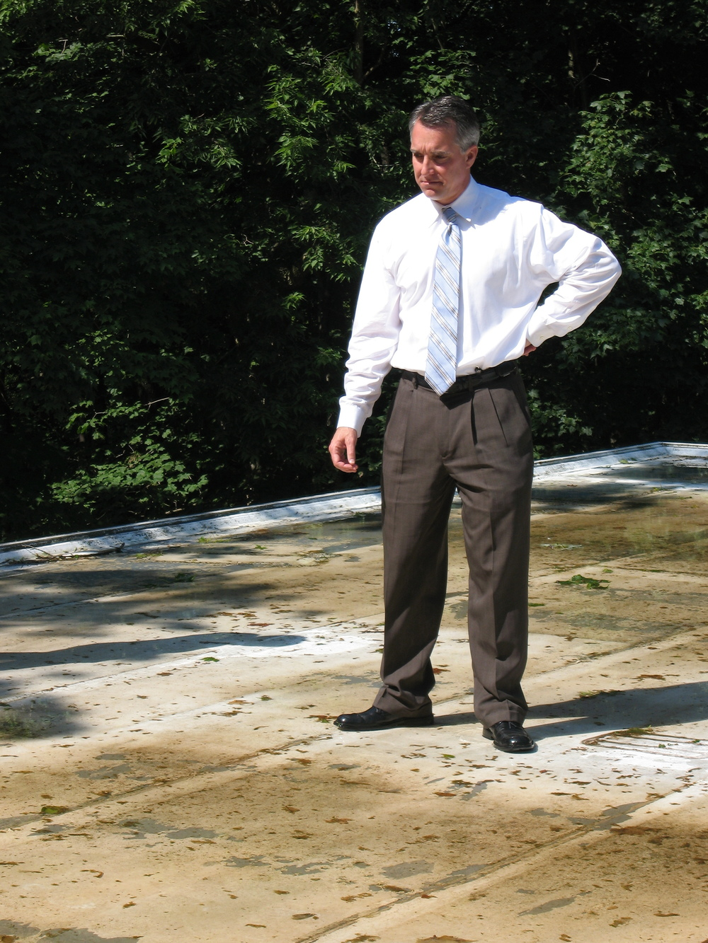Delph Gustitus examines roof at Farnsworth House.