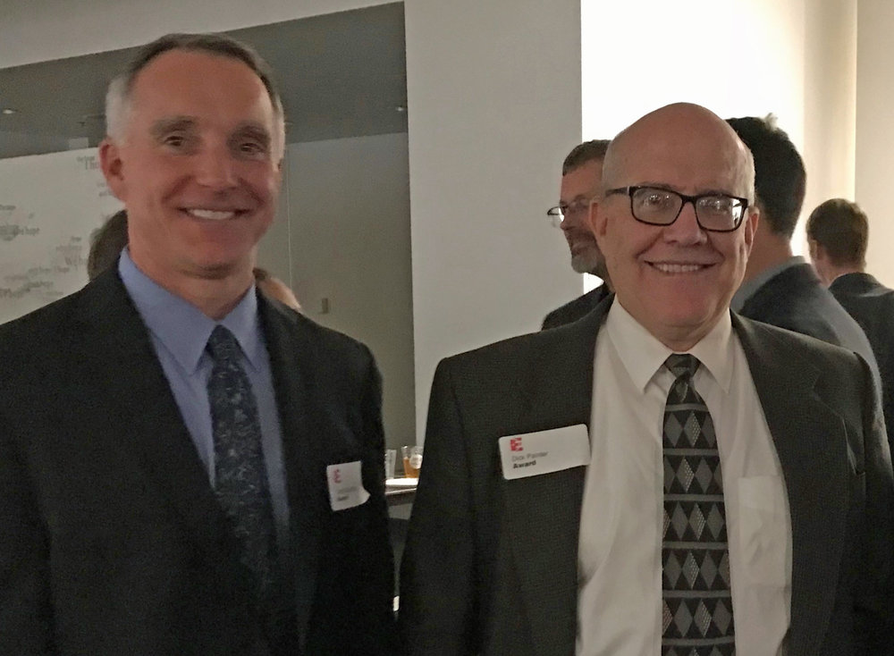 BTL Architect principal Delph Gustitus (pictured left) with Northwestern University's Manager of Construction Projects, Dick Painter (pictured right) at Design Evanston's 2017 Awards Ceremony, November 2, 2017.