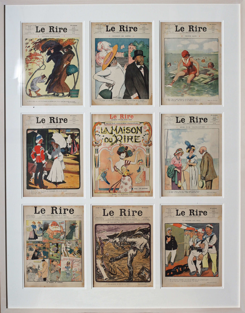 Set Of 9 Original Magazine Covers For The French Belle Epoque Publication 'Le Rire', Editions From Mainly 1910 Including an edition from 1901.  114.3 X 89.2cm. (including frame)  It would be extremely difficult to find another set like this with so many examples in such good condition.  There is a little bit of water staining, slight dirt, overall the colours are extremely strong.  The paper remains in a slightly faded but authentic state.   Price: £2000