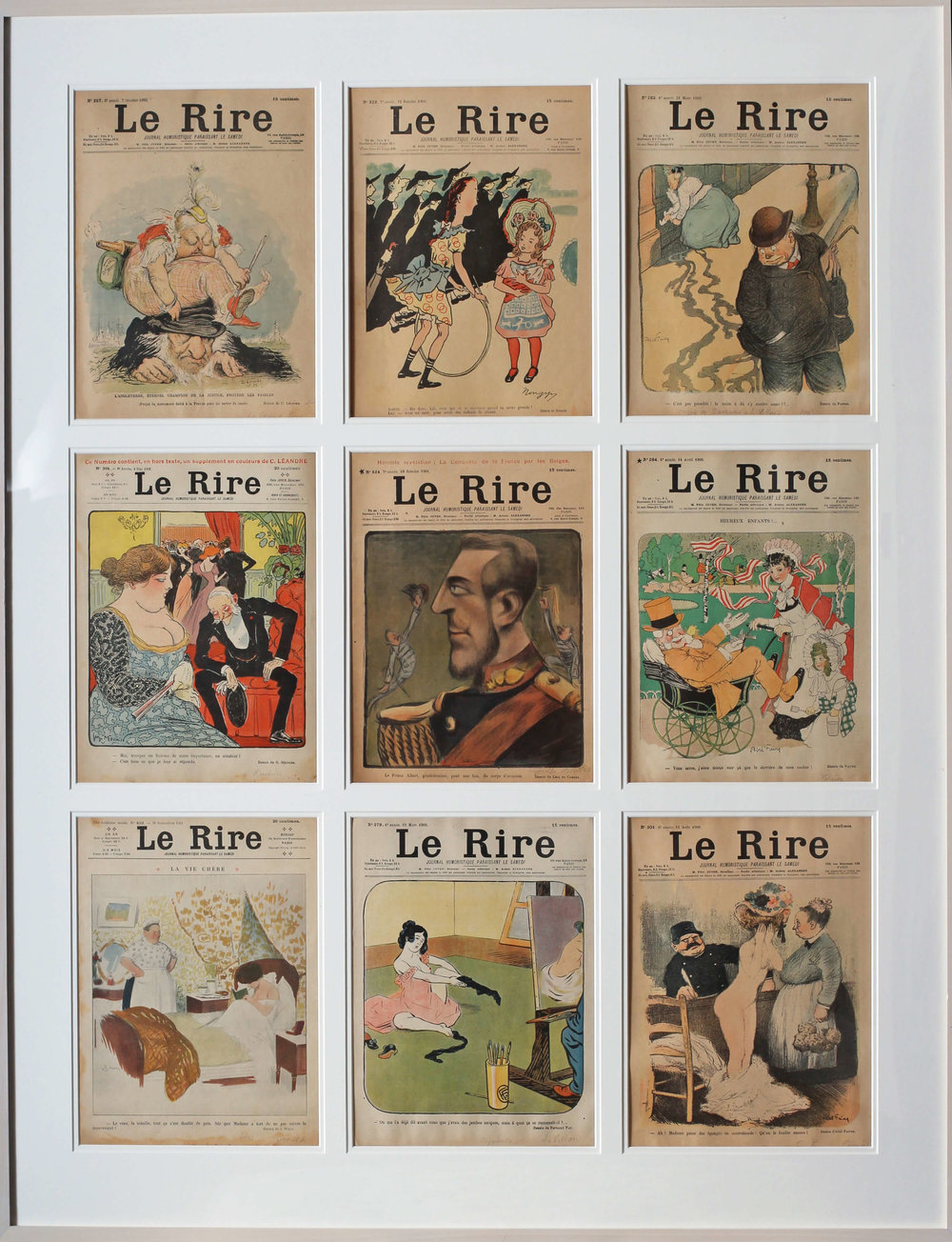 Set Of 9 Original Magazine Covers For the French Belle Epoque Publication 'Le Rire', Editions From 1899 – 1911.  They are mainly towards the former date.  114.3 X 89.2cm. (including frame)  It would be extremely difficult to find another set like this with so many examples in such good condition.  There is a little bit of water staining, slight dirt, overall the colours are extremely strong.  The paper remains in a slightly faded but authentic state.   Price: £2000