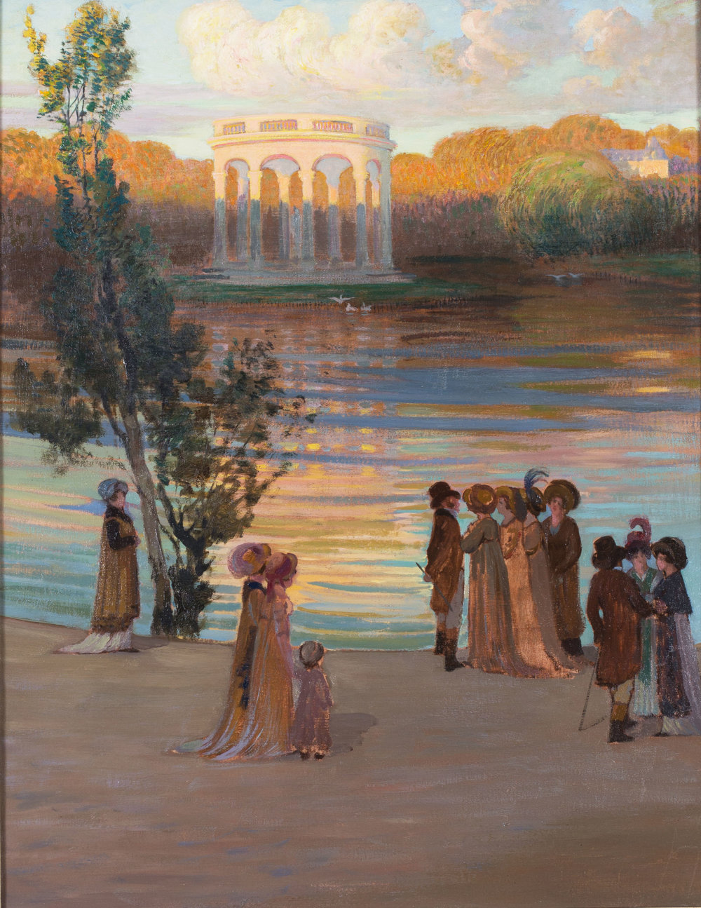 Gustave Poetzsch (Swiss, 1870 - 1950)    Scene du Directoire devant le Temple de l'amour, Versailles   Oil on canvas Unsigned 31 x 25in. (78.8 x 63.5 cm.) dimensions including frame  Condition: Oil on canvas not relined, paint surface in good order. Some good impasto. Surface scratches to tree. Otherwise in very good condition. In a silver gilt frame with a few minor abrasions.   SOLD