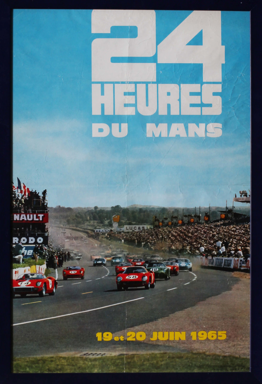 1965 LE MANS POSTER    24 HEURES DE MANS, 19 & 20 JUIN 1965  SIMPLY FRAMED BEHIND PERSPEX  64 X 44CM.  CONDITION: THERE ARE FOLDS, CREASES AND SCUFFS   PRICE: £500