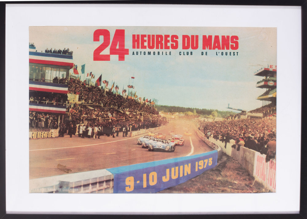 1973 Le Mans poster  24 heures du Mans, 9-10 Juin, 1973  15 x 22.1/2in. (38 x 57.2cm.)   Price: £500
