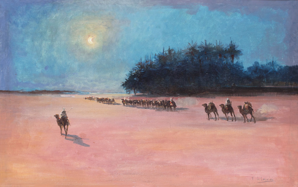 Gaston De La Perriere (French, B.1848) 'A camel train in the desert approaching the coast under the moon' Price: £1,200