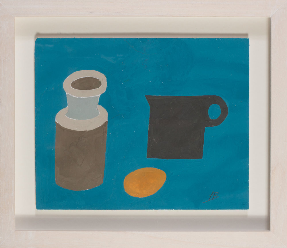 Heather Bray (Cornish, 20th / 21st Century)   Blue cups   Gouache on card  Signed 'H B' (lower right)  7.3/4 x 9.3/4in. (19.7 x 24.7cm.)   SOLD