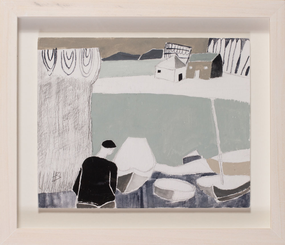 Heather Bray (Cornish, 20th / 21st Century)   A fisherman by his boats on the beach   Gouache on card  Signed with Initials 'HB (lower left)  8 x 10in. (20.3 x 25.5cm.)   SOLD