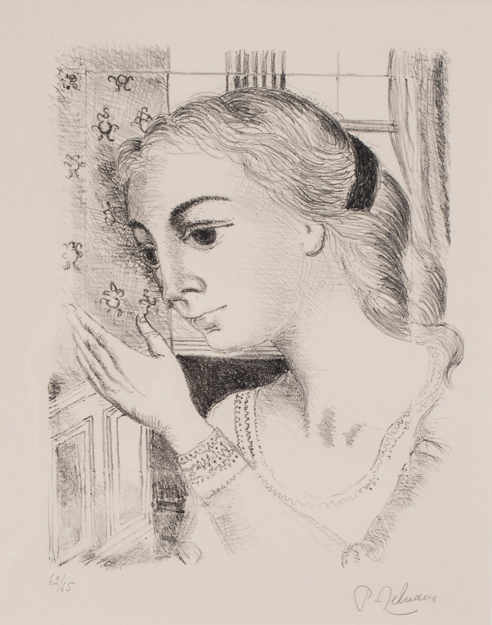 Paul Delvaux (Belgian, 1897 – 1994)     Lady with a candle, 1966    Lithograph  Signed, dated and numbered 62/55 in pencil   37.5 x 30.2 cm.   Price: £1,900