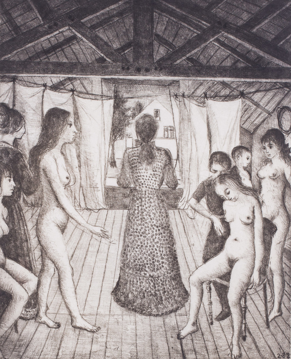 Paul Delvaux (Belgian, 1897 – 1994)     Le Grenier, 1982    Soft-ground etching   Signed and inscribed EA in pencil   48 x 38.7 cm.   Provenance: De Vuyst Gallery, Belgium   Price: £2,400