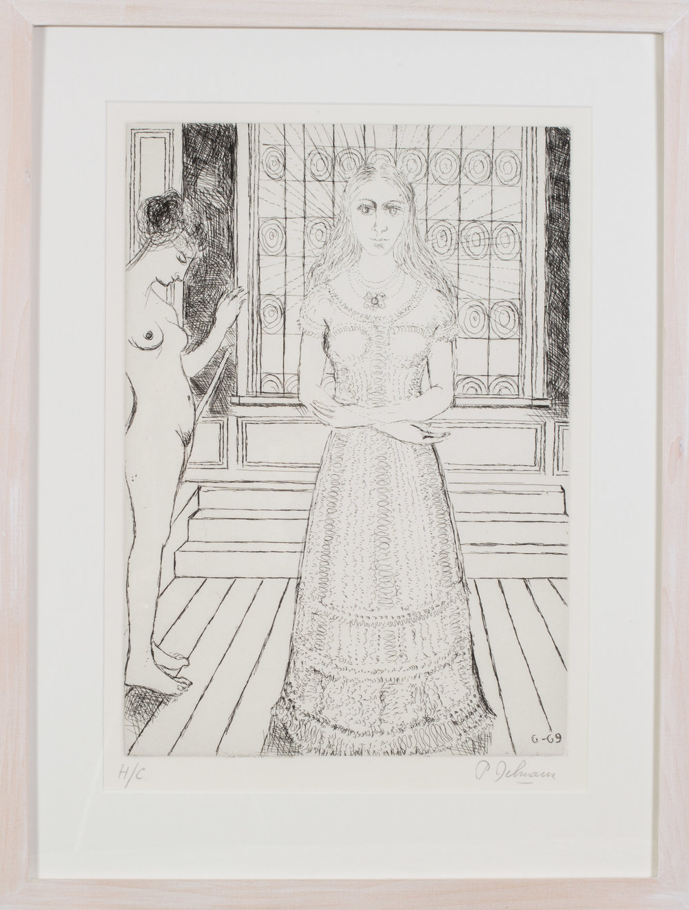 Paul Delvaux (Belgian, 1897 – 1994)    Stained Glass Window, 1969   Etching, dated within the plate, signed and inscribed HC in pencil  17.1/4 x 22.5in.   Price: £1,900