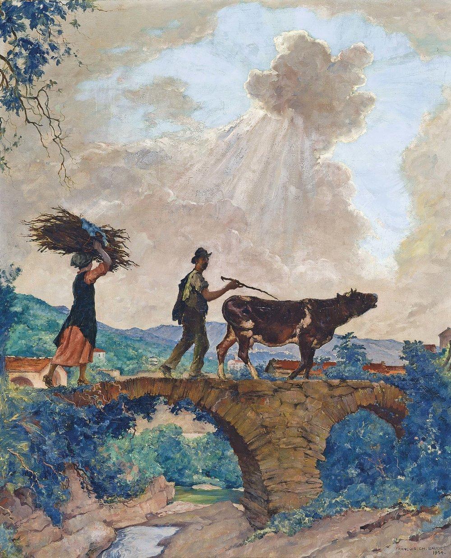 FRANCOIS CHARLES BAUDE    Ligurian Peasants Crossing A Bridge    Price: £3,500