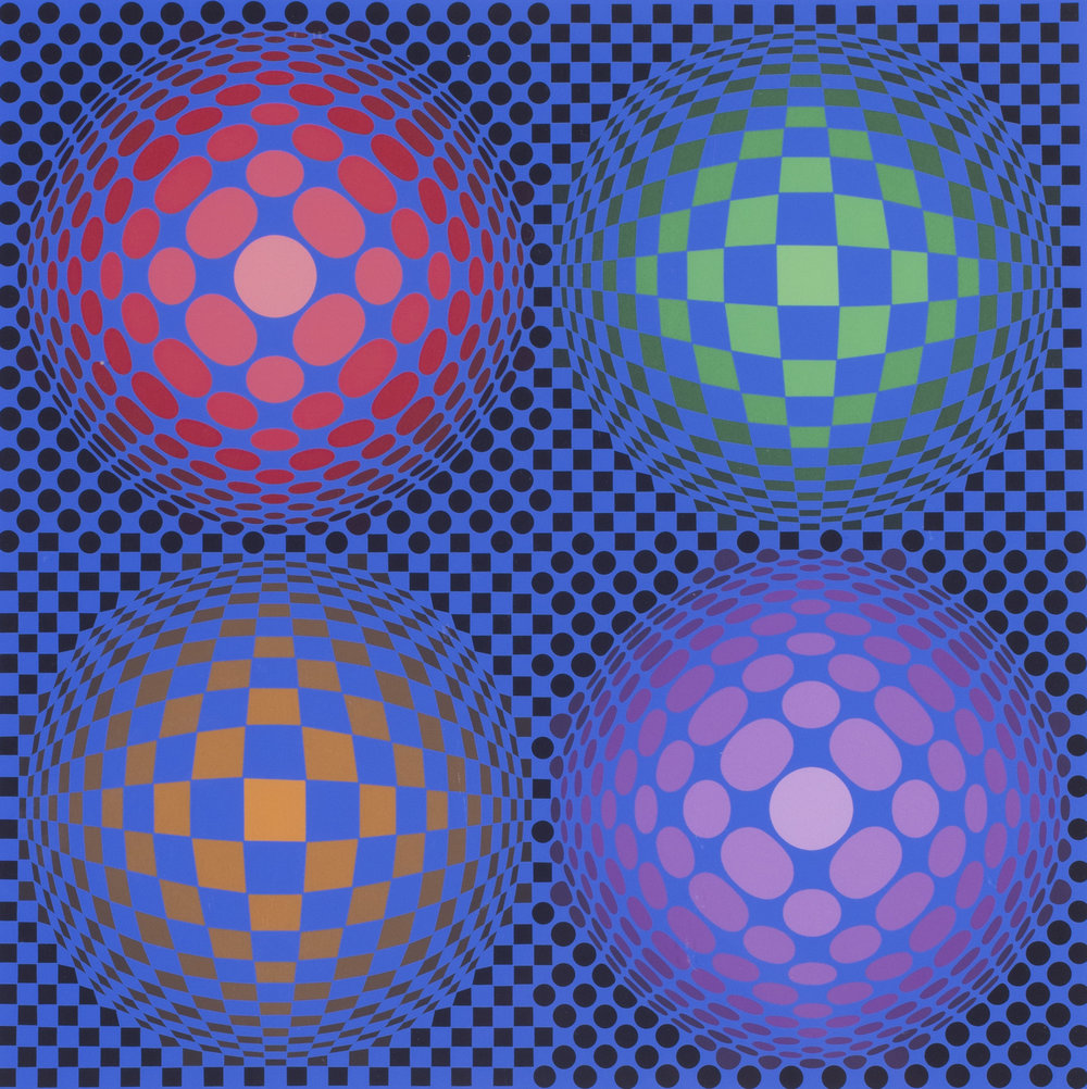 Victor Vasarely     4 spheres   Numbered 'F.V. 22/50' and signed 'Vasarely' (lower right)   Screen print   29.1/2 x 21.1/2 in (75 x 54.7 cm.)   Price: £1,100
