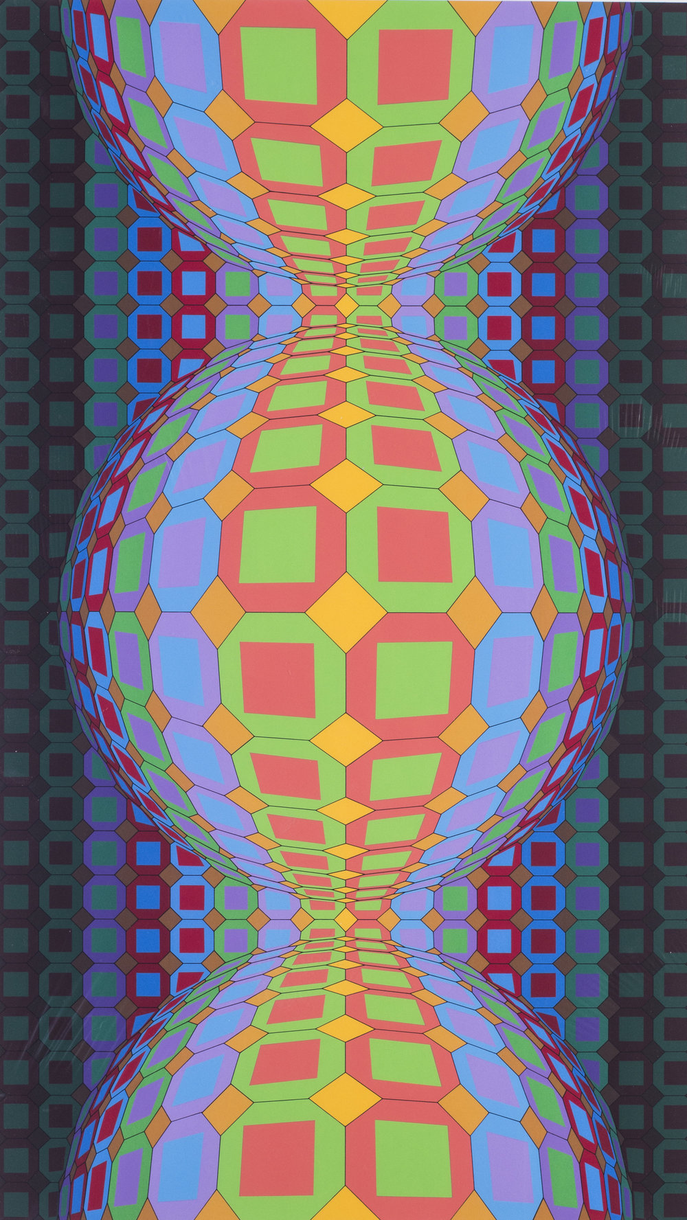 Victor Vasarely    Kaaba II, 1988    Numbered 'F. V. 26 / 60' (lower left) and signed 'Vasarely' (lower right in pencil)   Screen print   40.1/4 x 25.1/4 in. (102.5 x 64 cm.) including margin   Price: £1,200