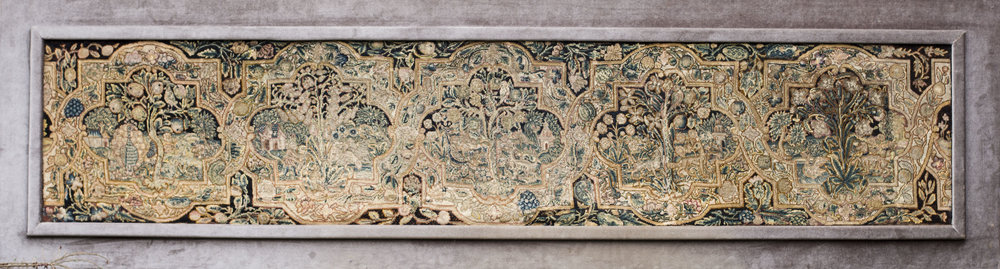 English school, 17th Century    An expansive needlepoint tapestry comprising 5 quadralobes which house scenes of animals and country fold in woodland landscapes.    Price: £6,800