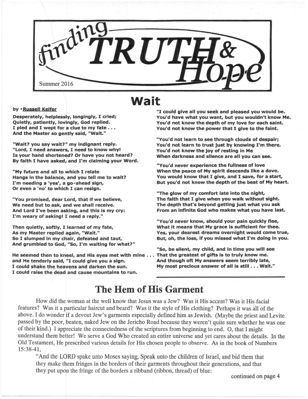 Finding Truth and Hope: Issue #6 (Summer 2016)