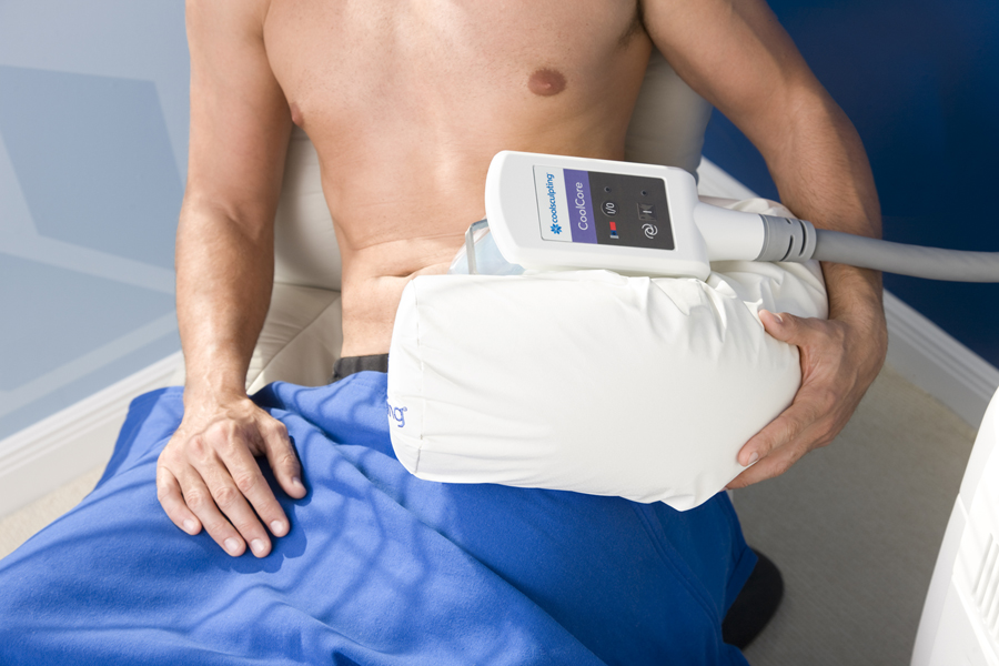 CoolSculpting treatment photo. Takes about an hour, no downtime. You can work and talk on the phone during the procedure