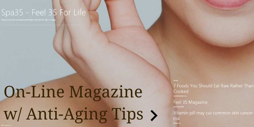 Online magazine of great articles and webpages with tips on aging well and maintaining youthfulness.