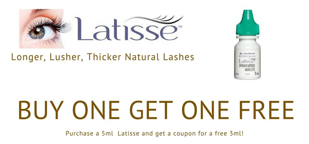 Grow longer, fuller eye lashes with Latisse from Allergan. Now get a free 3ml Latisse when you purchase a 5ml bottle.