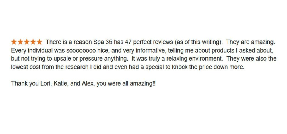 Five Star Google Review on Spa 35 services