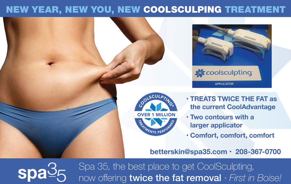 New Year Resolution Include Losing Some Extra Fat? Spa 35 Med Spa has the lastest technology from CoolSculpting that removes Twice the Fat with each treatment!