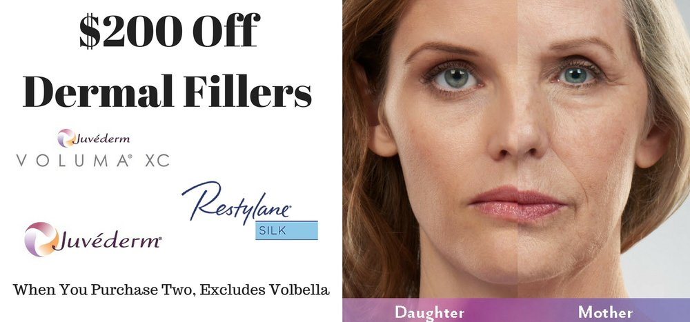 Dermal Fillers, such as Juvederm, Voluma  and Restylane restore a more youthful look by replacing volume in the face and lips that occurs with the aging process.