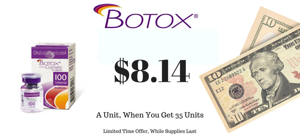 Save $100 when you get 35 units of Botox. Supplies are limited.