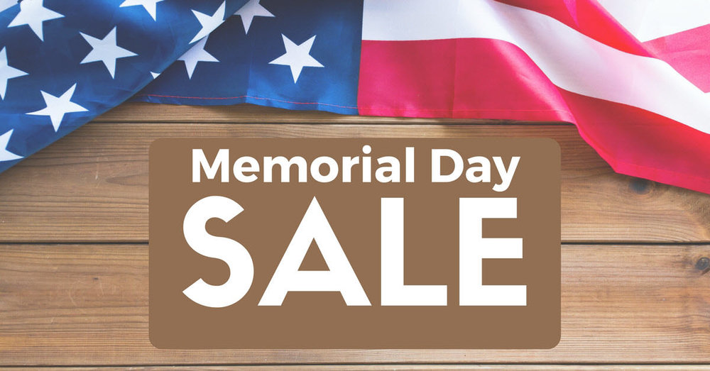Memorial day sale, buy two get one free, now through June 30
