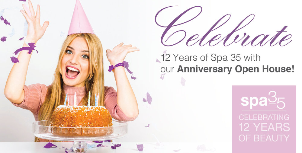 12 Year Anniversary at Spa 35 Med Spa on June 6th, 11am to 4pm