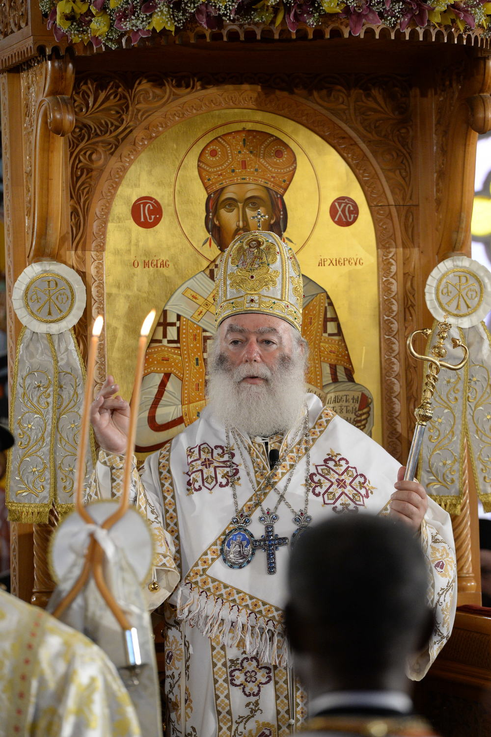 His Beatitude Patriarch Theodoros II of Alexandria presides over the Divine Liturgy at the Annunciation Church in Kissamos, Crete. PHOTO: © John Mindala