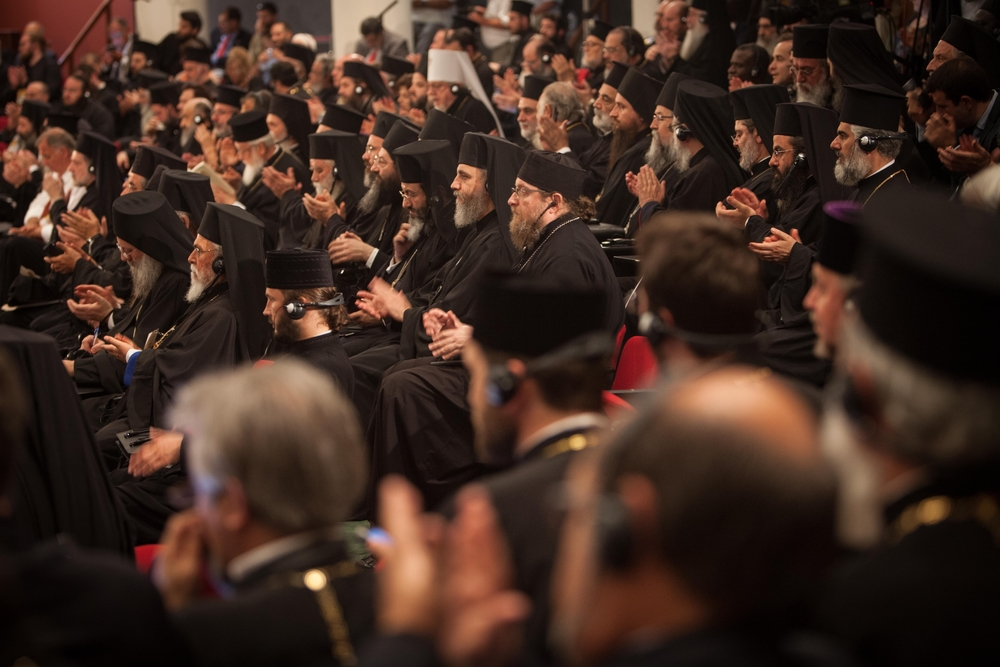 The Primates of the Local Orthodox Churches and their delegations participate in the opening session of the Holy and Great Council of the Orthodox Church at the Orthodox Academy of Crete. PHOTO: © SEAN HAWKEY.
