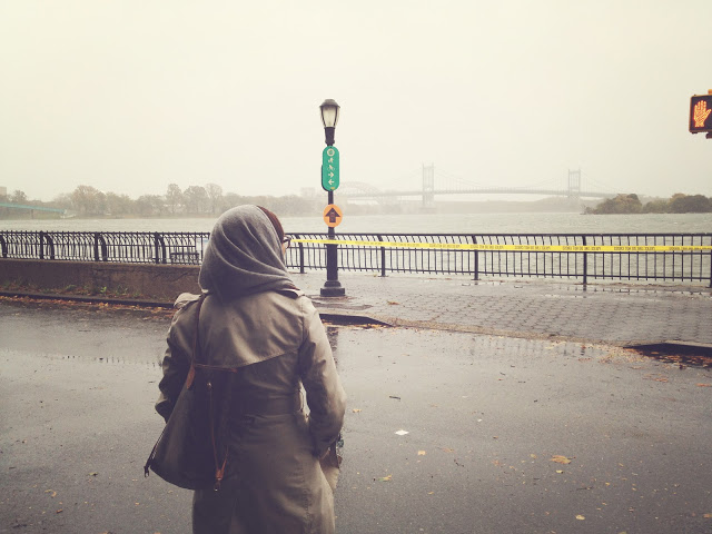 Upper East Side by the East River, waiting for the storm