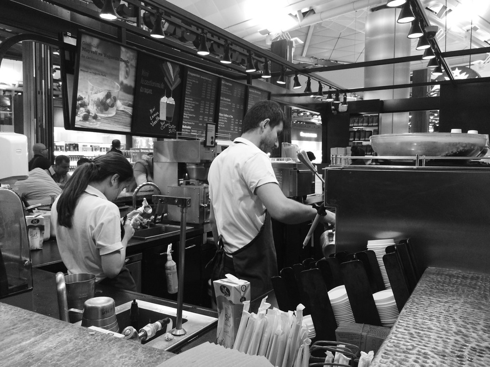 Late night Starbucks baristas