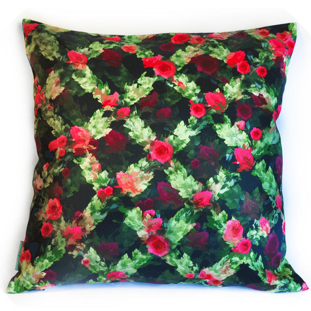 Rose Throw Pillow Goodluck Cushion