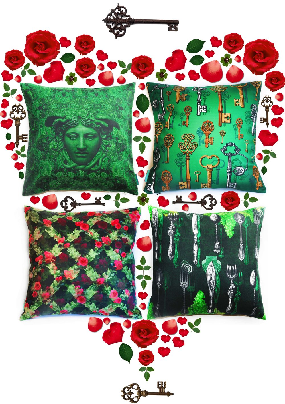Throw Pillows Emerald Green Vintage, Shabby Chic Pillows, Rose Motif