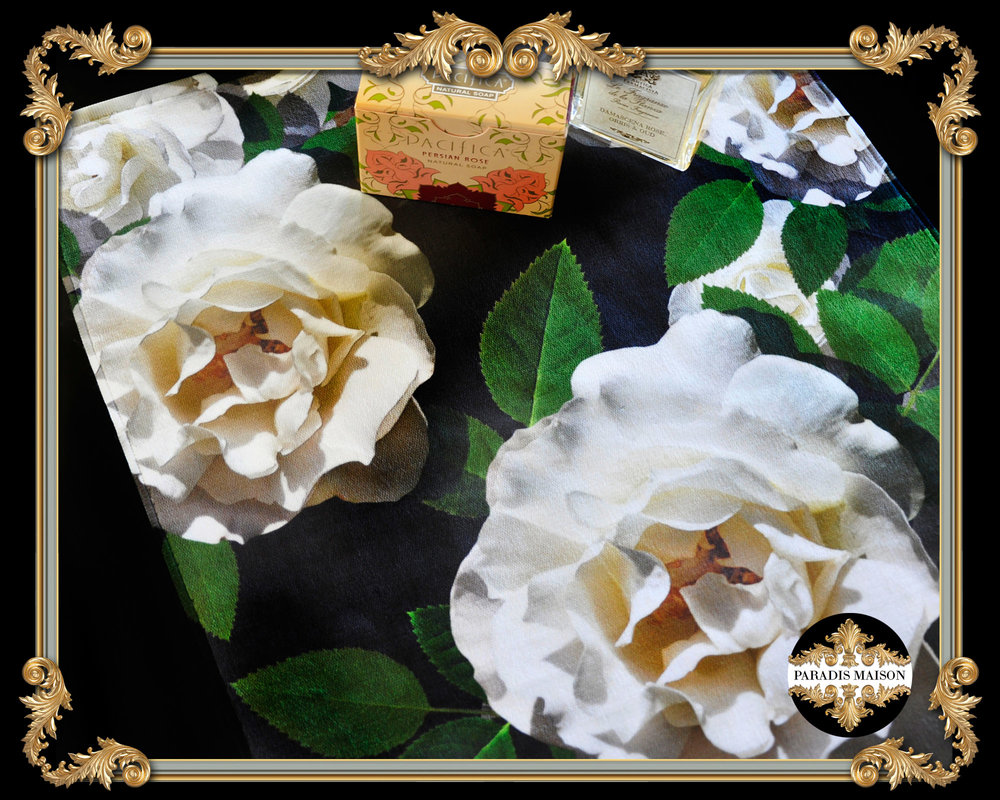 white rose hand towels