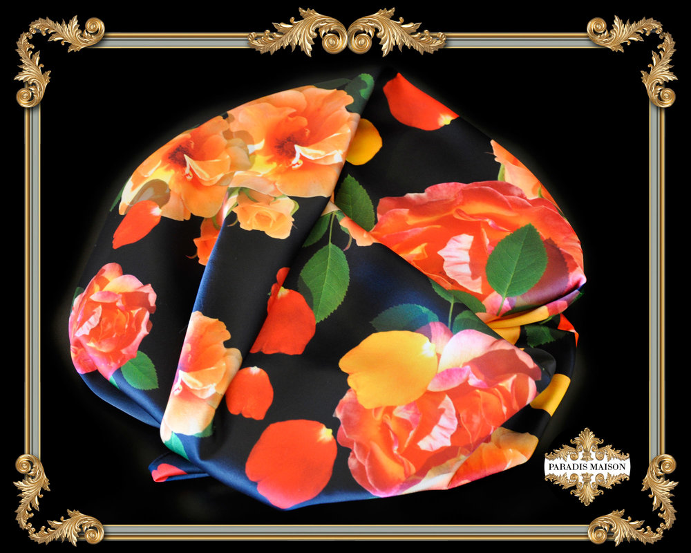 orange rose silk scarf