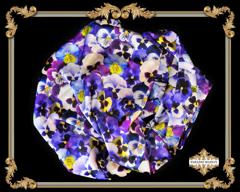 pansy flower silk scarf